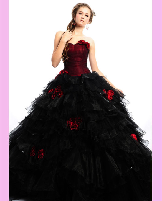 black-frill-gown-with-red-flowers 2