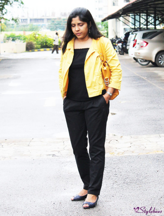 black pants with mustard jacket