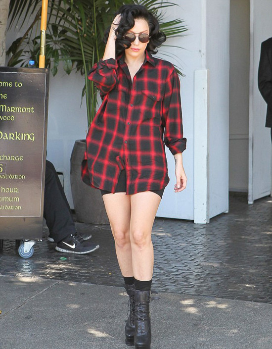 lady-gaga-in-red-and-black-check shirt