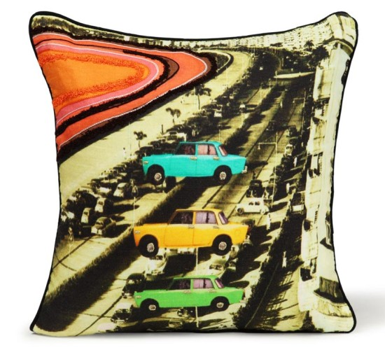 cushion cover with car-rally design