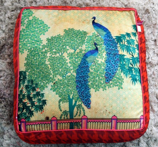 floor-cushion-with-peacock design