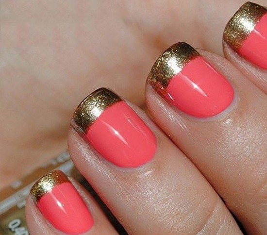Coral and gold french tips nails