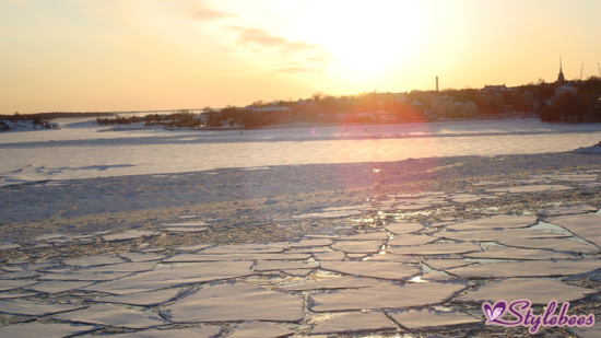 sun shining on ice
