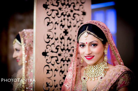 pink bridal lehenga and makeup