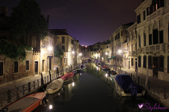 venice night view with boats
