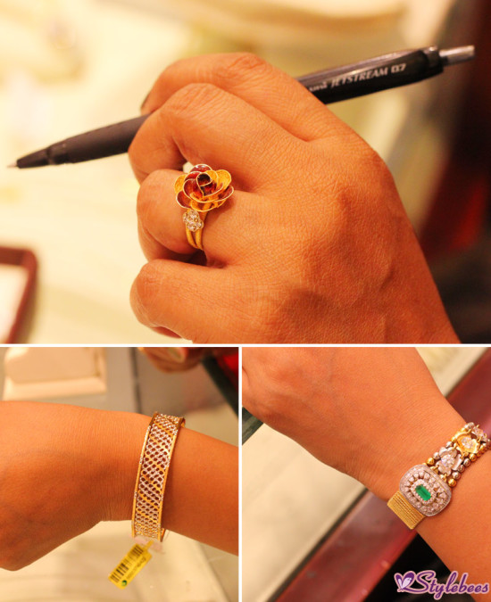 Rings and bracelets at Kalyan jewellers