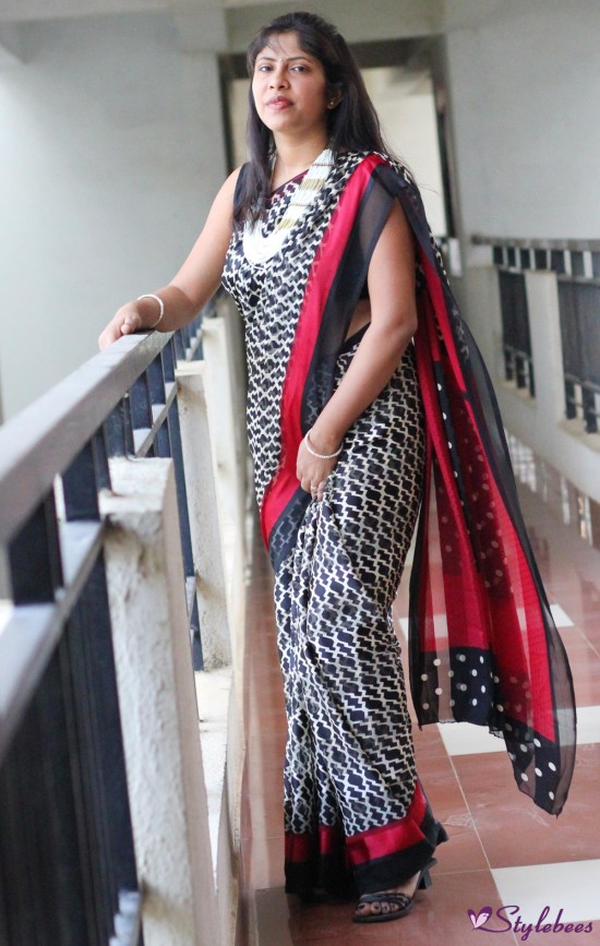 black red and white printed saree