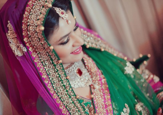 magenta and green bridal lehenga
