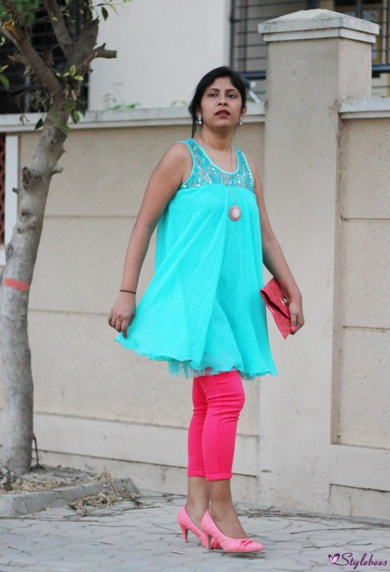 Pink jeans with sea green kurta